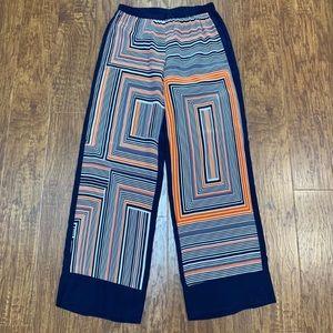 Trina Turk navy and orange geometric palazzo pants